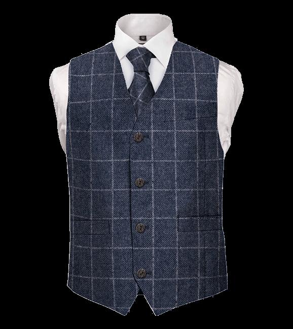 tweed blue waistcoat